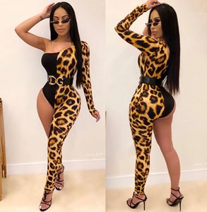 Plus Size Individuality Leopard Print Jumpsuits Rompers Single One Sleeeve Sexy Bodycon Irregular Patchwork Rompers Pants