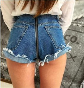 Short Summer Womens Casual Cotton Solid Color Shorts with Pockets Slim Street Style Shorts Sexy Back Zipper Fashion Women Jeans