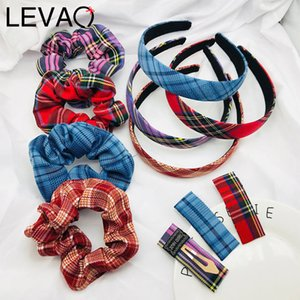 LEVAO 1Set Plaid Hairpin Women Rubber Band Sweet Hair Clip Hair Jewelry Hairband Head Hoop Accessories Scrunchie Girls Headdress