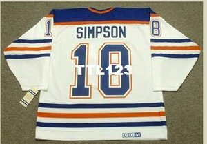 Men #18 CRAIG SIMPSON Edmonton Oilers 1990 CCM Vintage Home Hockey Jersey or custom any name or number retro Jersey
