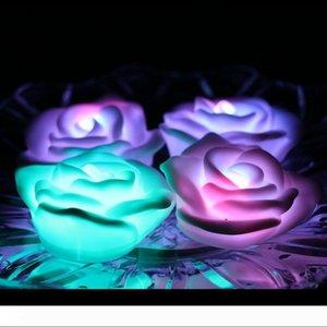 공상 다채로운 변경 LED 장미 꽃 로맨틱 한 웨딩 장식 파티 램프 촛불 조명은 소원 등이 주도 야간 조명 장미 확인