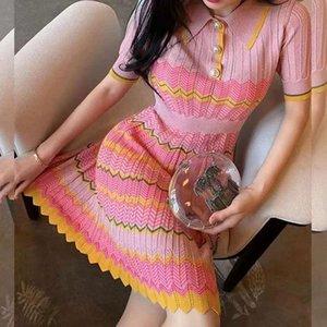 405 2020 Summer Dress Kint Dress A Line Lapel Neck Short Sleeve Empire Flora Pink Prom Runway Dress QIAN