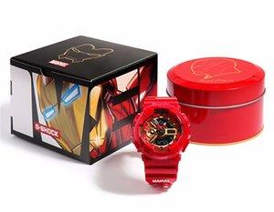 남자 스파이더 맨 아이언 맨 협업을위한 도매 MARVEL 제한 남성 스포츠 시계 (110) 자동 LED 방수 충격 손목 시계
