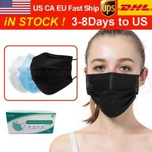 Grátis DHL / UPS 3-8 dias a EU / 50pcs da UE com máscaras Box descartáveis rosto com Elastic Ear laço 3ply respirável Moda Máscara Designer