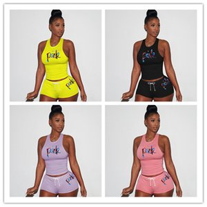 Designer Women Letters Printed Tracksuit Summer Sleeveless Vest Tank T Shirt Top + Shorts Set 2 Piece Outfit Bodycon Sports Suit New D61506
