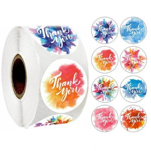 Circular Self Adhesive Sticker Thank You Stickers Watercolor Flowers Packing Label Mini Camouflage Box Envelope Sealing Wedding Party 4sh D2
