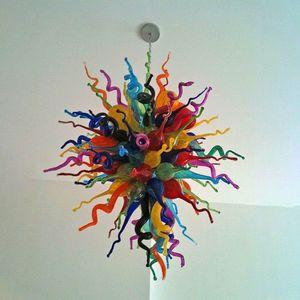 침실 홈 장식-L의 새로운 손 불어 유리 샹들리에 조명 실내 미술 장식 등 화려한 40 인치 높은 LED 펜던트 조명