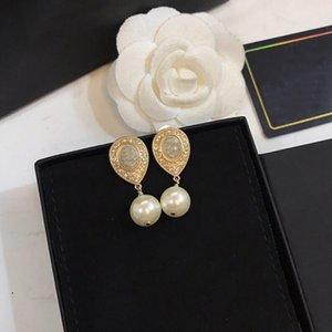 C2361 925 silver needle pearl earring tassel eardrop fashion extravagant temperament pendant set diamond crystal delicate earrings