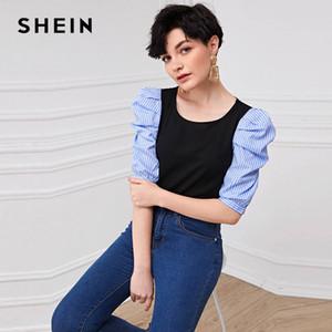 Listrado preto Shein Puff Sleeve Top em torno do pescoço Blusa Mulheres Verão Colorblock Moda meia luva Escritório das senhoras Blusas Casual