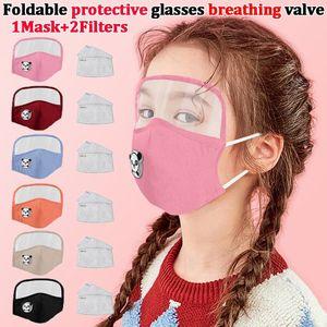2020 Protective 2 Eye lavable Facem masque de coton avec filles de soupape respiratoires Masque masque masque Face Shields couches enfants garçons enfants PM2 bqio