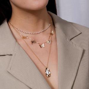 Festa di compleanno a catena farfalla multistrato collane Womans collana irregolare delle signore del metallo del pendente della perla monili dell'oro di colore alla moda Lega