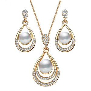 2020 Color Water Drop Simulated Pearl Crystal Necklace Stud Earrings Jewelry Set for Women Party Wedding Jewellery