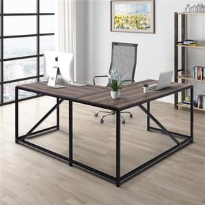 """Bureau en forme de L 58.3 """"Bureau d'angle de l'ordinateur, table de jeux à domicile, table de travail de bureau, économie d'espace, facile à assembler, noyer"""