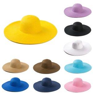 YJA-82 soleil des femmes de couleur bonbon style coréen plage de chapeau de paille corniche bonbons grand chapeau Eaves grand chapeau de paille