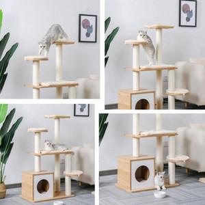 Trasporto veloce Pet Tiragraffi Torre del giocattolo Tiragraffi per Cat Legno tree climbing salto Furniture House Condo Nest 9XRh #