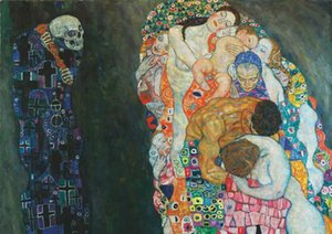 Klimt - Death and Life Art Canvas Painting Home Decor Handpainted &HD Print Oil Painting On Canvas Wall Art Canvas Pictures 200711
