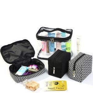 Cosmetic Bag Set Travel Makeup Bag PVC Cosmetic Bags Transparent Clear Zipper Storage Organizer Make Up Case Four Piece Set YFA539