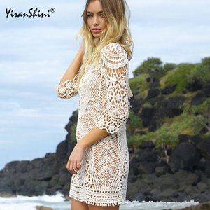 Women Tops Swimwear Beach Dress Summer Swimsuit Lace Hollow Crochet Beach Bikini Cover Up White Beach Tunic Shirt Y200708