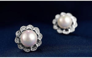 Mixed oder top quality women's S925 sterling silver pearl stud earrings silver pearl earrings sivler cubic zircon post earring DDS4076