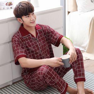 Herren Summer Nachtwäsche Pyjamas Sets Jugend Cardigan Männer-Pyjamas gestrickte Baumwolle Kurzarm-Hosen Home Service Pajama