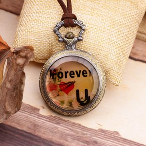 Fashion couple pocket watch love you forever letter pocket watch necklace Valentine's Day Valentine's Day gift