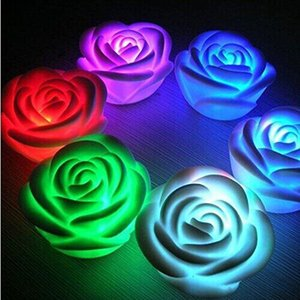 Changeable Color LED Rose Flower Candle lights smokeless flameless roses love lamp Light Up Free Battery Table Home Decoration Gift ZA1515
