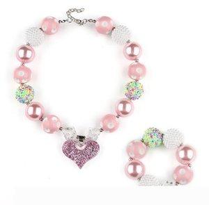 Розовый Коренастого ожерелье браслет комплекты ювелирных изделия DIY Детские Bubblegum сердце Подвеска Акрилового бисер ожерелье Подвеска для девочек малышей оптом