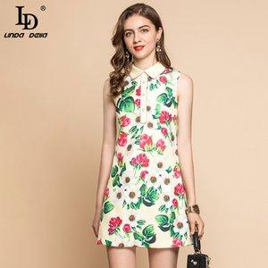 LD LINDA DELLA Mode piste d'été Mini robe femmes manches élégante fleur Rose Imprimer perlage Party Vintage Robe courte