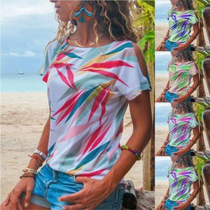 Casual Summer Tshirts Fashion Off Shoulder Short Sleeve Scoop Neck Designer Tshirt New Women Summer Clothing Women