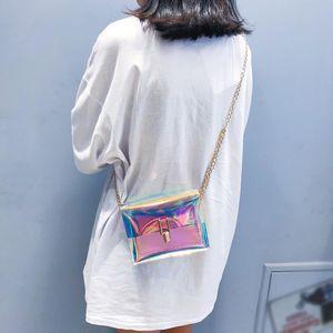 illustrations laser gelée claire Sacs pour les femmes Holographic chaîne transparent Sac à bandoulière Sacs à bandoulière Messenger Bag occasionnels Bolsa Feminina