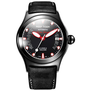 Reef Tiger / RT Mens Casual спортивные часы с Дата Dark телячьей кожаный ремешок светящимися Автоматические наручные часы RGA704