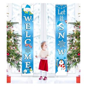 DHL FEDEX Cheapest 30*180cm Couplet Merry Christmas Banners flags 300D Polyester Outdoor indoor party hang decorations custom wholesale