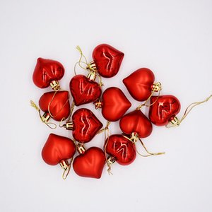 12PCS Pack Heart Stars Christmas Pendant Christmas Tree Decoration XMAS Drop Natal Ornaments Decorations For Home