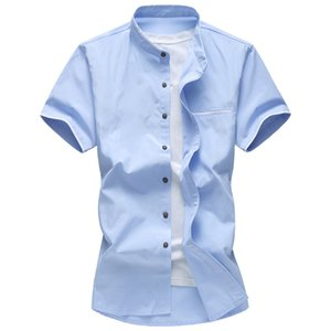 New Men Casual Clothing Summer Short Sleeve Shirt Solid Collar Oxford Textile Plus size Men White Shirts