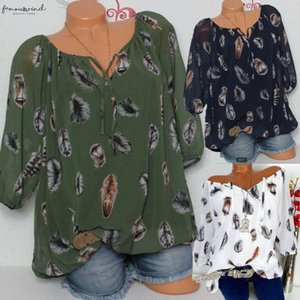 Women Tunic Shirt 2020 Summer 3 4 Sleeve Floral Print V Neck Blouses And Tops With Button Big Size Women Clothing
