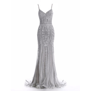 Crystal Women Evening Dresses Spaghestti Strap Mermaid robes de mariée Glitter Sheath Formal Dresses Luxury Bridal Reception Dresses