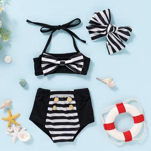 Cute Baby Striped Bow Swimsuit Baby Girls High Waist Metal Button Halterneck Bikini Set Classic Black And White Baby Beach Swimming Costume