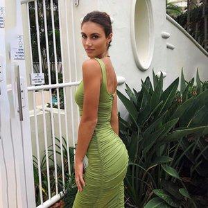 Midi Dress Summer Woman Vintage Sexy Bodycon Slip Dress Wrap Elegant Vestido off Shoulder Club Party Ruched Green Purple
