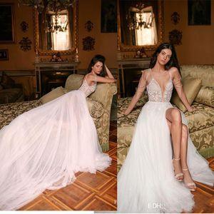 2020 Sexy Gali Karten Split A Line Wedding Dress Crystal Appliques Pearls Spaghetti Sleeveless Backless Wedding Dresses Boho Bridal Gowns