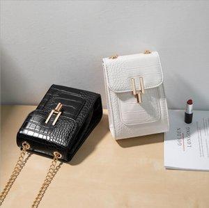 패션 작은 검은 가방 새 스타일 단일 어깨 여성을위한 스 트래 휴대 전화 가방 포켓