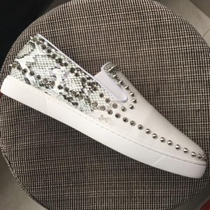 sslouboutinCLNew Men Women Red Bottoms Loafers White Patent Leather Back Snakeskin Pattern With Circle Sliver Spikes S