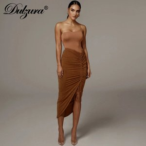 Dulzura drawstring ruched women pencil midi skirt slit high waist elegant bodycon sexy streetwear party club 2020 summer clothes