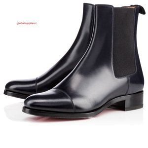 2020 Fashion Women Red Bottom Boots Black Genuine Leather Communa Ankle Boots For Men Party Dress Winter High Top Shoes Size 36-46