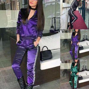 2020 trajes de las mujeres del otoño del resorte de dos piezas chándal de jogging para los conjuntos Ejecución de juegos de deporte Mujeres remiendo encapuchada del sudor pantalones