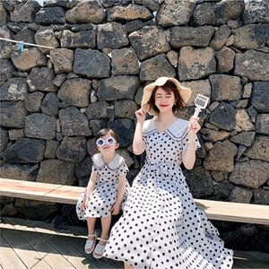 Doll Collar Mommy and Me Dress for Family Matching Clothes Outfits Adult Mom Baby Girls Wave Point Dresses