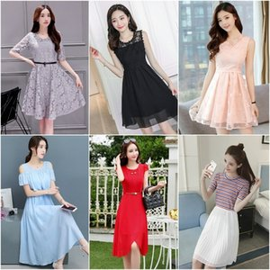 Miscellaneous Korean women's dress Lace long skirt long skirt loose slim fashion temperament all-match lace mid-length dress