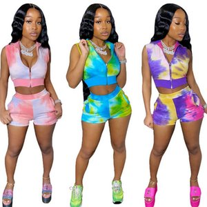 Womens Due pezzi Set Summer Fashion Stickey Surveless Zipper Copert Top Pantaloncini elastici Tie-Dye Stampa 2pcs Set Sport Womens