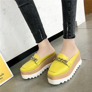 Slippers Women Flip Flops Comfortable Rubber Platform Shoes Women Casual Round Toe Flat Loafers Flats Autumn Women Shoes PU 2019 Y200624