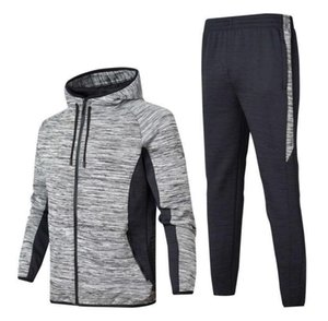 Autumn Winter Best Version Mens Fashion Hooded Tracksuits Print Zipper Suit Tops+Pants Mens Casual Sweatshirt Sport Suits