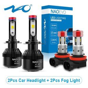 NAO 4x H7 H4 H11 Auto LED luz de niebla 4 3 H8 H9 H11B Turbo Faro Blub H1 H13 9008 9007 9006 9005 9004 9012 Hir2 iluminación